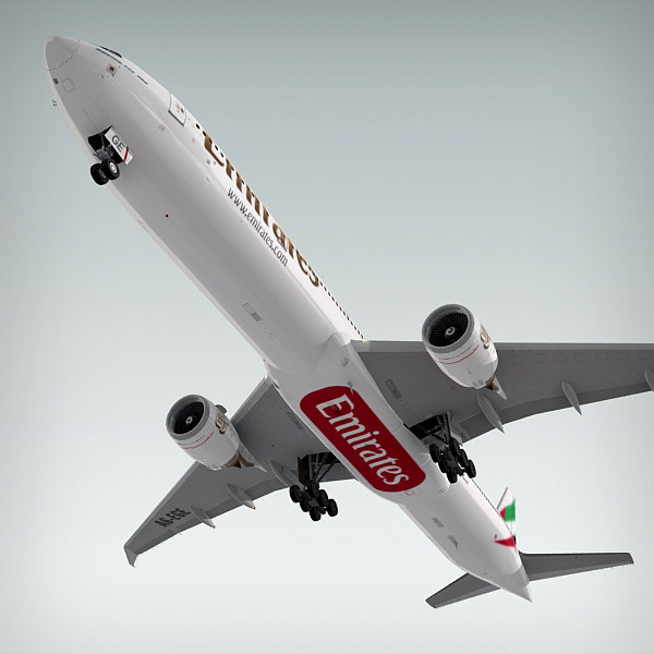 3d model boeing 777-300 plane emirates