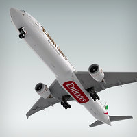 3d model boeing 777-300 plane emirates
