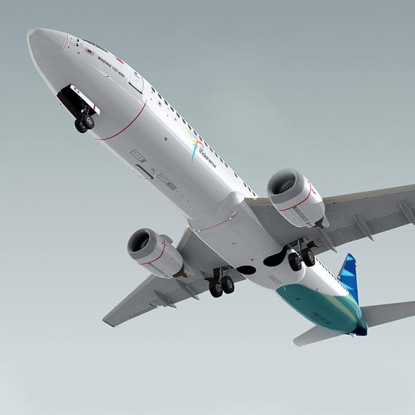 boeing 737-800 plane garuda 3ds