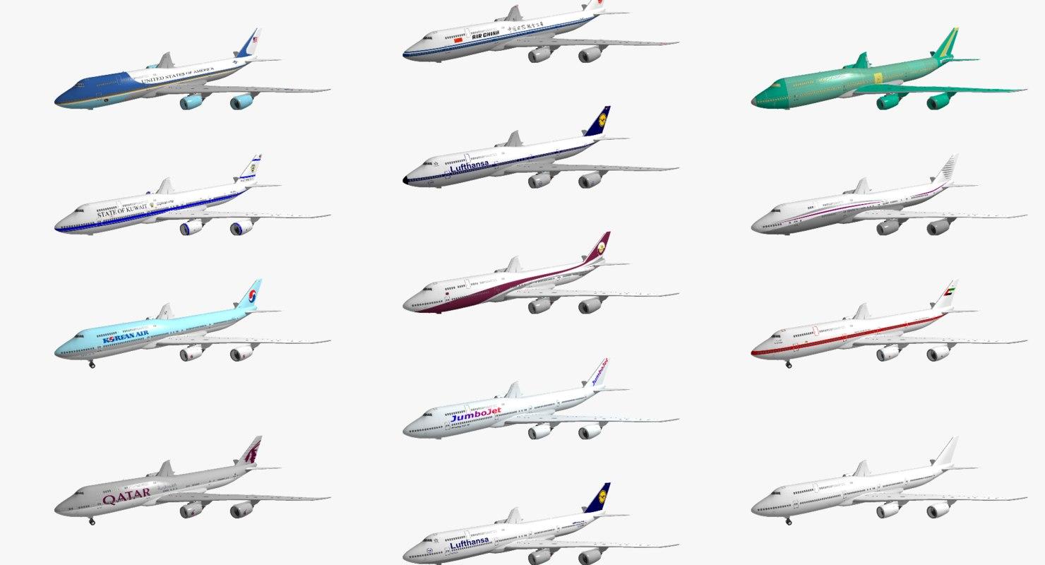boeing 747-8i 13 various 3d model