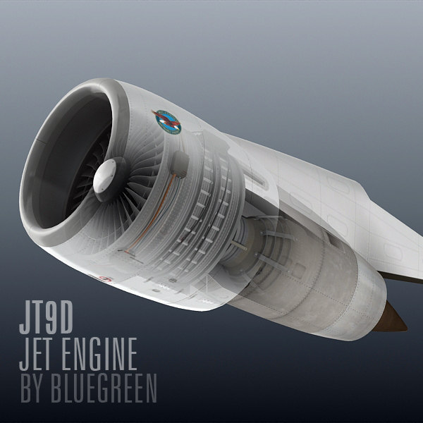 jt9d jet engine 3d model