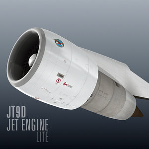 jt9d jet engine lite 3d model