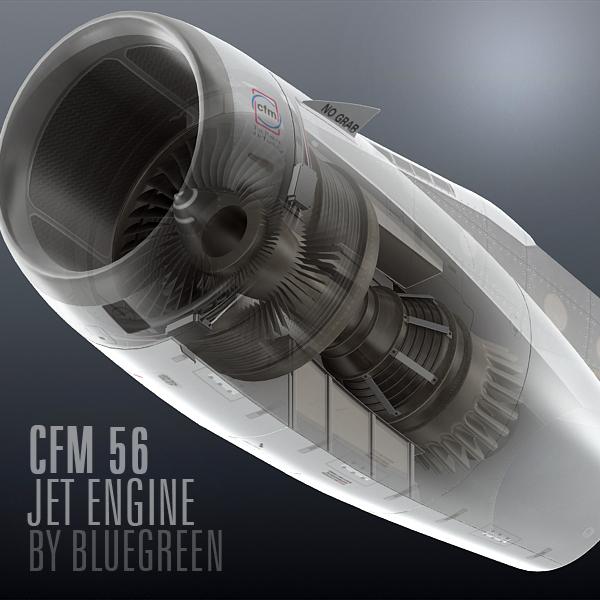 3d cfm56 jet engine