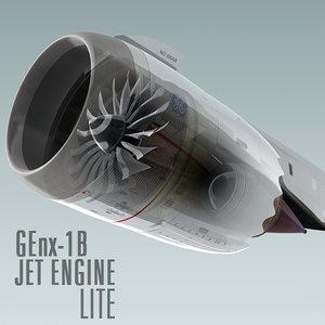 genx-1b jet engine lite 3d c4d