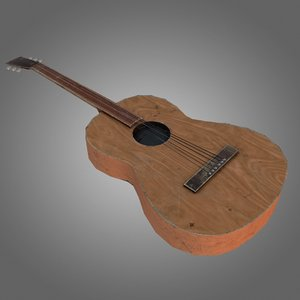 acoustic guitar pbr obj