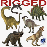 3D dinosaurs rigged