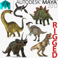 Rigged Dinosaurs Collection for Maya