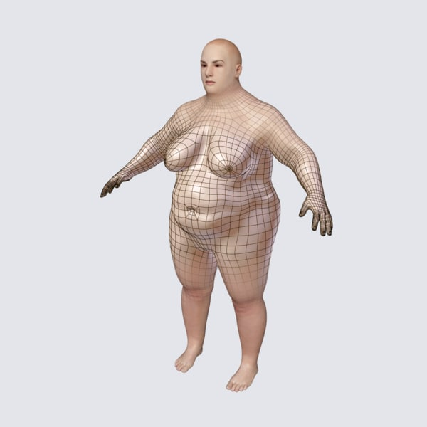 realistic fat woman obj