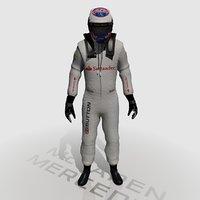 formula jenson button 2014 3d obj