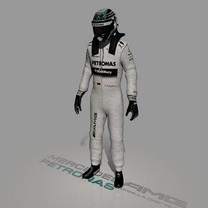 3d formula driver nico rosberg model