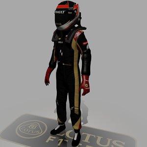 formula driver kimi raikkonen 3d model