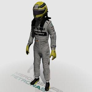 formula driver nico rosberg 3d model