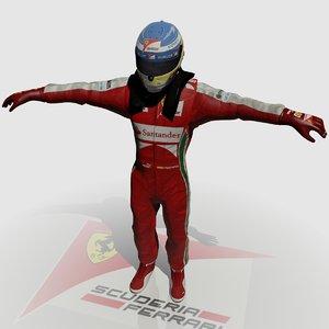 3d formula driver fernando alonso model