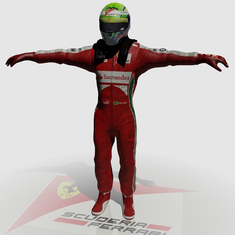 3d formula driver felipe massa model