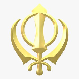 3d khanda symbol emblem model