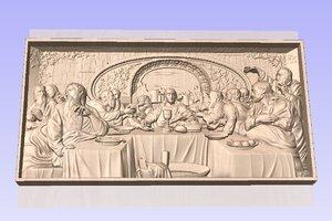 last supper stl tajna vecera relief model