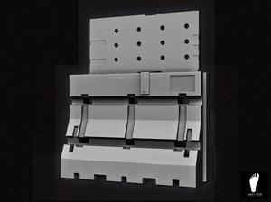 3d plastic jersey barrier model