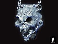 sculpted hanging skull torch 3d model