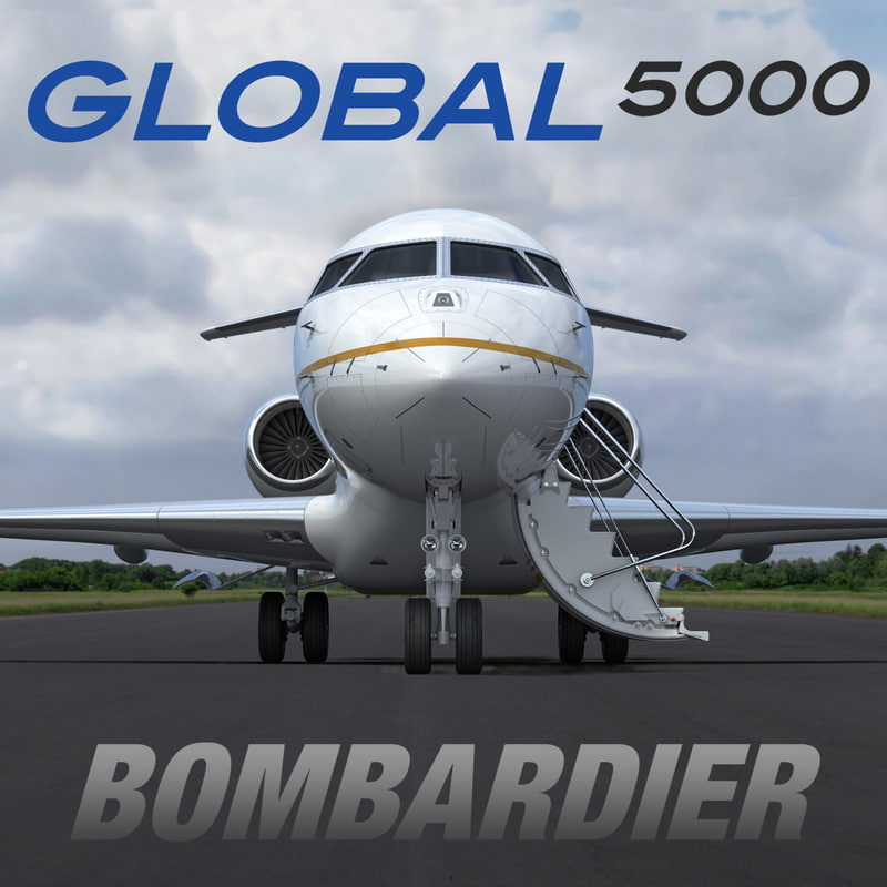 business jet bombardier global 3d max