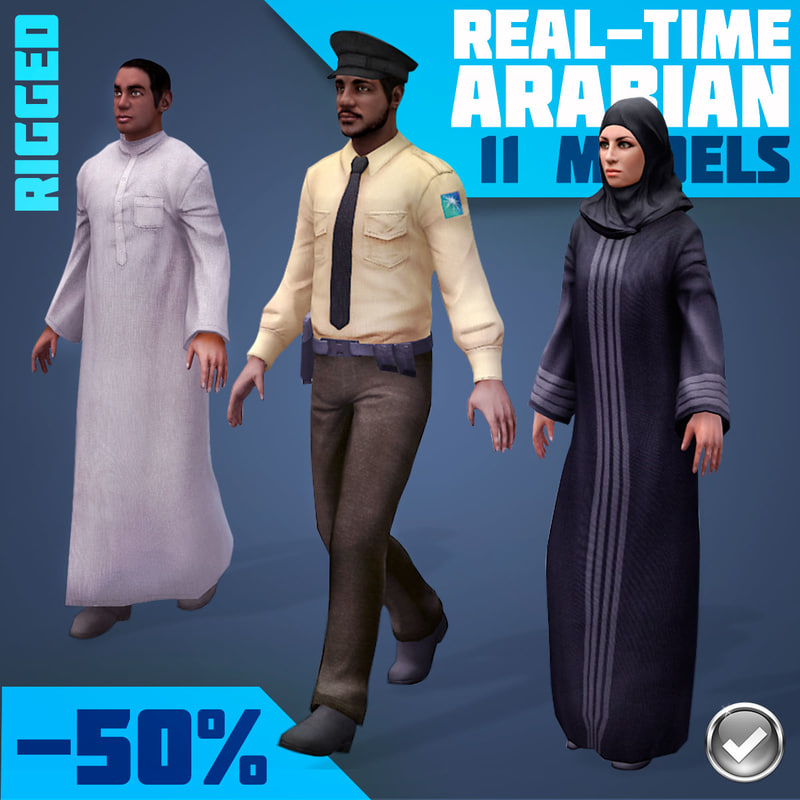 3d rigged characters arabic civilians