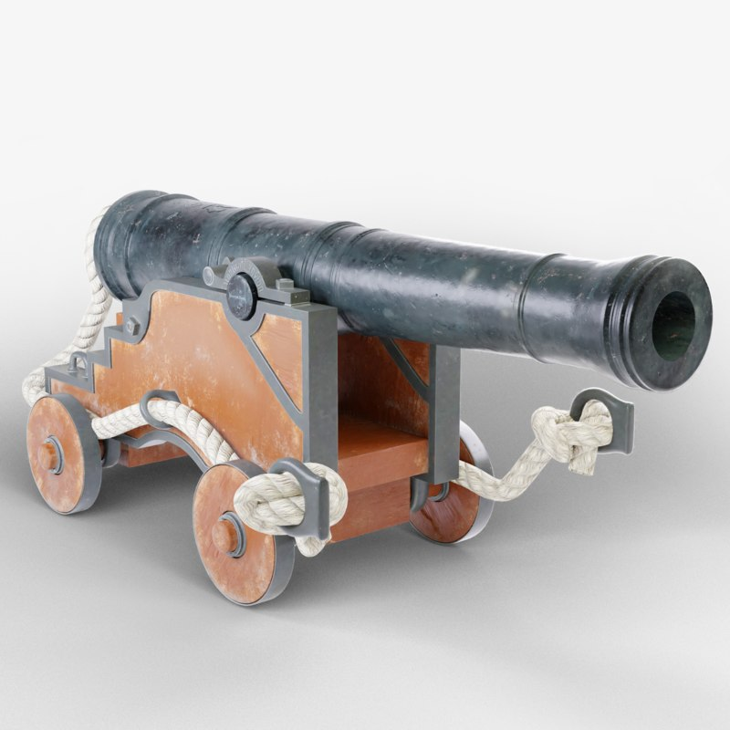 realistic naval cannon 3d model