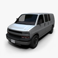 Passenger Van Low Poly