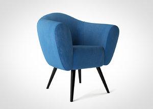 Velvet Chair - scandinavian design armchair 3D model