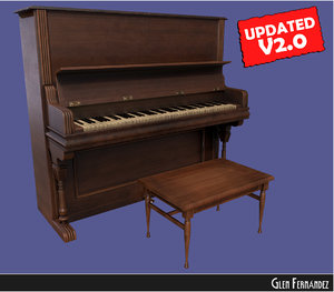 3d model piano stool updated vintage