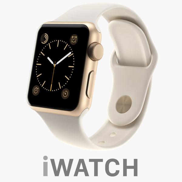 3d apple iwatch 38mm gold model