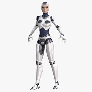sci-fi female robot 3d model