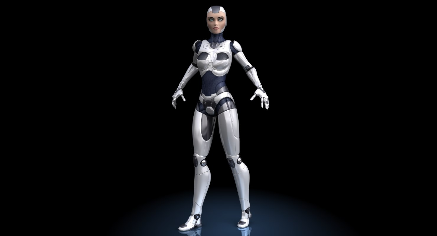 sci-fi female robot 3d model