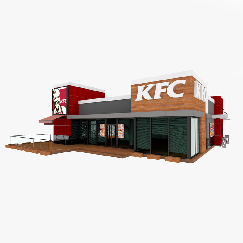 Kfc fast food restaurant 3d model for 3d cuisine bessines 79
