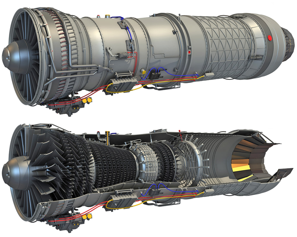 3D afterburning turbofan engine cutaway