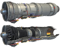 3D afterburning turbofan engine cutaway