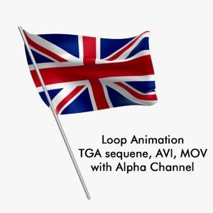 Swinging Flag Loop Animation - United Kingdom