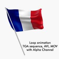 Swinging Flag Loop Animation - France