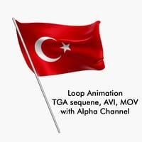 Swinging Flag Loop Animation - Turkey