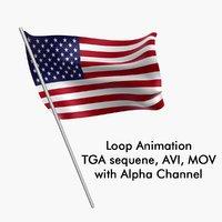 Swinging Flag Loop Animation - USA