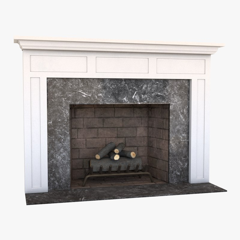 fireplace mantel grate 3d model