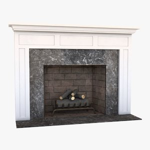 fireplace mantel grate 3d model