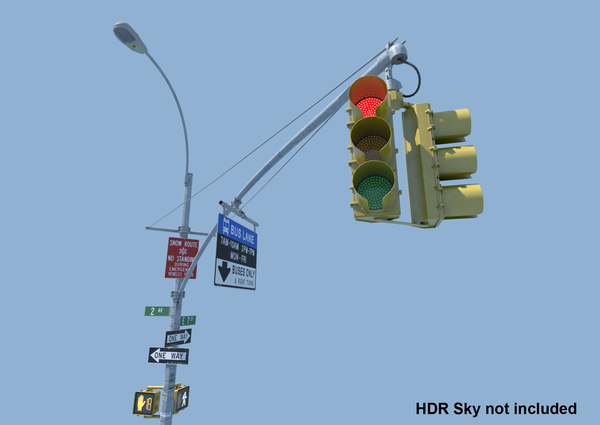 nyc traffic light signal obj