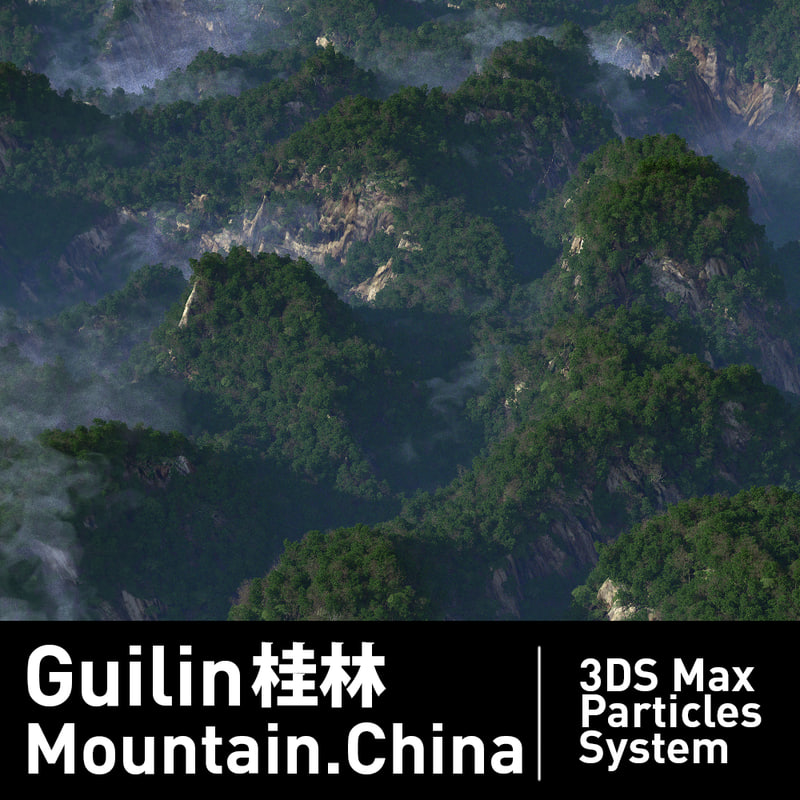 3D trees particles systems mountain model