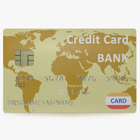 3d gold credit card modeled model