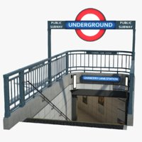 3D england london underground entrance model