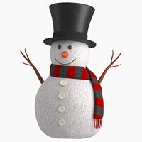 cute snow man v2 3D model