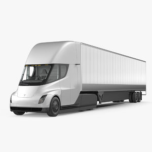 3D model tesla semi truck trailer