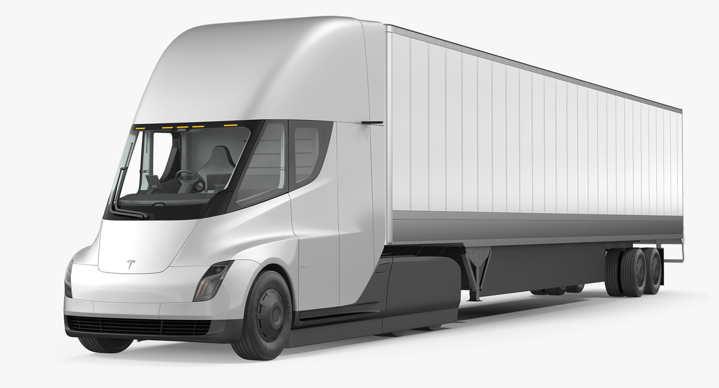 3D Model Tesla Semi Truck Trailer