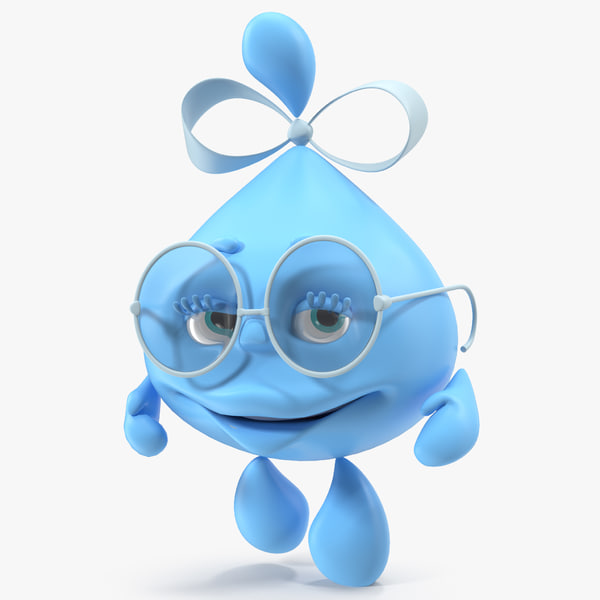 water droplet cartoon lady character 3D model