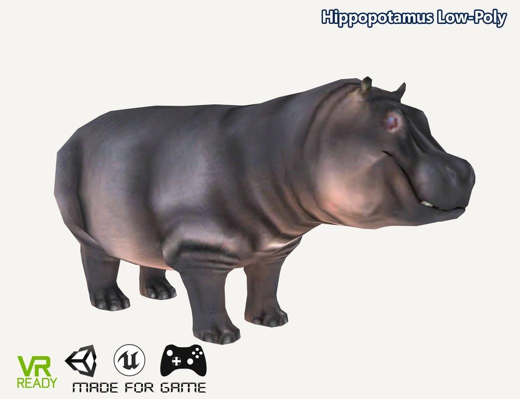 3D optimized hippopotamus