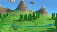 Cartoon low poly landscape scene